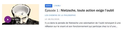 Nietzsche oubli